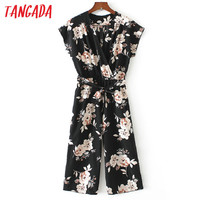 Tangada Floral Print Jumpsuit Romper Women 2017 Elegant Sexy V-Neck Bow Tie Overalls Causal Summer Beach Jumpsuits Female FF1