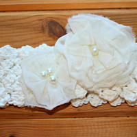 natural ivory cotton crochet baby toddler flower headband shabby chic accessories etsy girl clothes gifts online 12 -24m crochetyknitsnbits