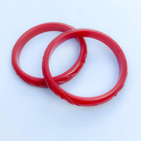 Pair of Carved Bakelite Bangle Bracelets, Cherry Red, Vintage Jewelry