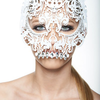 White Masquerade Mask Collection - Full Face Skull Metal Filigree Laser Cut Mask