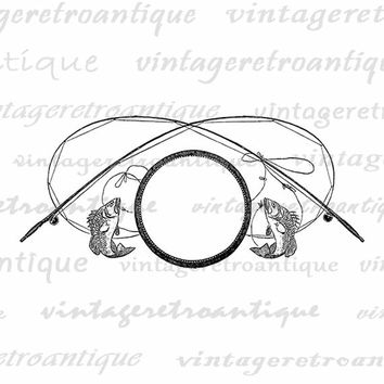 Printable Image Fishing Pole Graphic Fishing Digital Art Design Clipart Download Artwork Vintage Clip Art Jpg Png Eps Print 300dpi No.4310