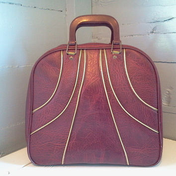 Vintage Bowling Bag, Maroon and Gold