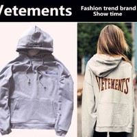 PEAPDQ7 Trendy  Vetements Print Long Sleeve Hoodies Pullover Sweaters