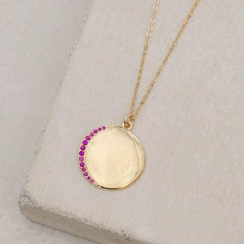 Customizable Crescent Moon Necklace - Ruby