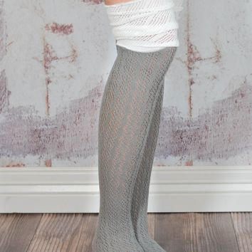 Grey and Ivory Slouchy Two Toned Boot Socks
