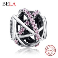 Original Charm Fit Pandora Bracelet 925 Sterling Silver Bead Galaxy Openwork With World DIY Beads Jewelry Making  PY1006