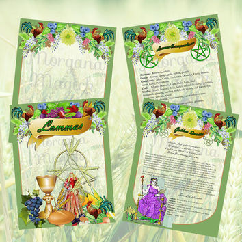 LAMMAS SABBAT LUGHNASADH 4 Pages,Digital Download, Book of Shadows Pages, Grimoire, Spell, Wicca, Magick, Pagan Ritual, White Magick