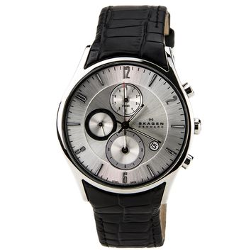 Skagen 329XLSLC Men's Denmark Black Leather Strap Silver Tone Dial Chronograph Watch