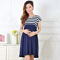 Maternity dress casual cotton maternity clothes stripe Pregnant dresses