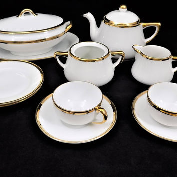 Antique Child's Noritake China Set, 13 Piece Tea and Luncheon, 1920's - 1940, Children's Tea Set