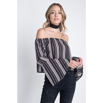 Women's Off Shoulder Casual Stripe Bell Sleeve Top