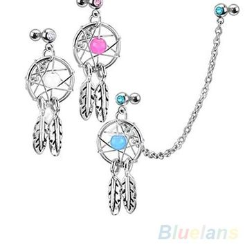 Dream Catcher Star Helix Tragus Cuff Ear Piercing Cartilage Stud Earring 4DAP