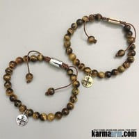 INNER STRENGTH: Tiger's Eye | Maltese Cross Charm | Yoga Chakra Bracelet