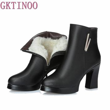 2017 New Fashion Autumn Winter Shoes Woman Genuine Leather Boots Women Boots with Thick High Heels Ankle Boots Wool Snow Boots