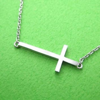 Classic Cross Shaped Sideways Bar Bracelet in Silver | DOTOLY