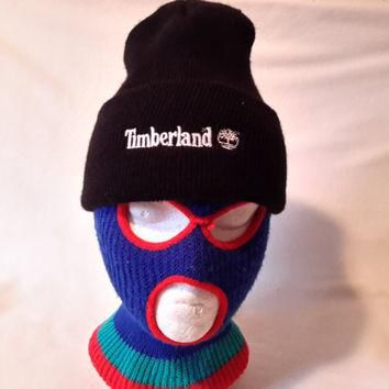 Vtg Timberland Beanie hat Winter cap Retro 90s hip hop Style toque knit skullie winter