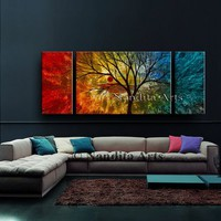 """Landscape painting on canvas 60"""" Artwork by Nandita Albright, Tree art, Fall wall decor, fast shipping"""