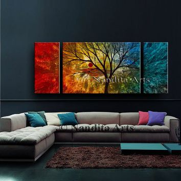 "Landscape painting on canvas 60"" Artwork by Nandita Albright, Tree art, Fall wall decor, fast shipping"