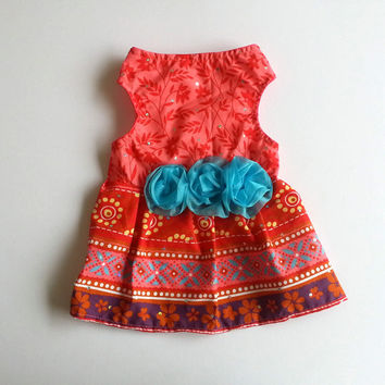 Floral pet dress with blue flower lace accent. Ideal for dogs, cats and other small animals