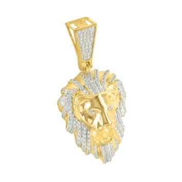 Lion Head Sterling Silver Pendant Gold Finish