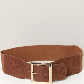 Wide Elastic Buckle Belt Brown