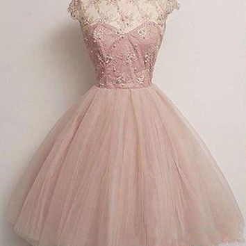 Baby Pink Tulle A Line Cap Sleeve Homecoming Dress