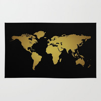 Black + Gold World Map Floor Rug, World Map Home Decor, Boys Room Decor, Dorm Room Decor