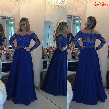 PD127 Dignified A-Line Long Sleeve Prom Dresses 2017 Scoop Neck Lace Appliques Beaded Royal Blue Prom Dress Chiffon Robe De Prom