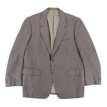 Vintage Sport Coat in Houndstooth - Bespoke Blazer Jacket Cream Ivy League Menswear - Men's Size 42 Short Large Lrg L
