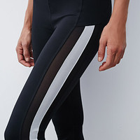 Mesh-Paneled Colorblock Capri Leggings