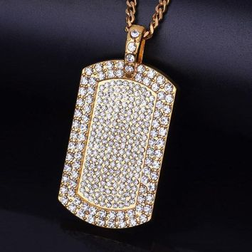 Diamond Dog Tag Pendant W/ Gold Chain