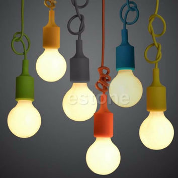 Hot Silicone E27 Home Ceiling Pendant Lamp Light Bulb Holder Hanging Fixture
