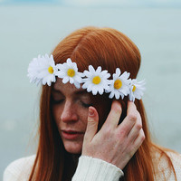 White Rabbit - Flower Crown / Floral Crown / Flower Halo / Flower Headband / Festival Wear / White Daisy