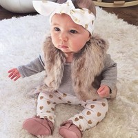 Newborn Baby Girls Top & Pants  3PCS Outfit