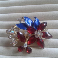 dark blue and red crystal flower rhinestone goldtone  brooch  pin