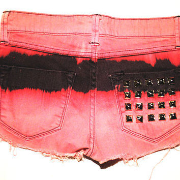 Tie Dye Studded Indie Hipster Shorts XS by WickedRevival on Etsy