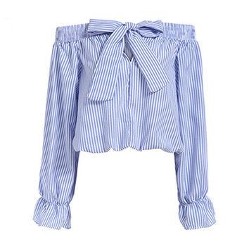 Sexy Off Shoulder Blouse Tops 2016 Autumn Women Slash Neck Long Sleeve Bow-knot Neck Blue Vertical Striped Shirt Crop Blusas Top