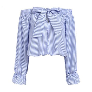 Sexy Off Shoulder Blouse Tops 2016 Summer Women Bowknot Slash Neck Long Sleeve Blue Vertical Striped Shirt Crop Blusas Plus Size