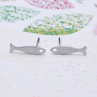 Silver Fish earrings with sterling silver post