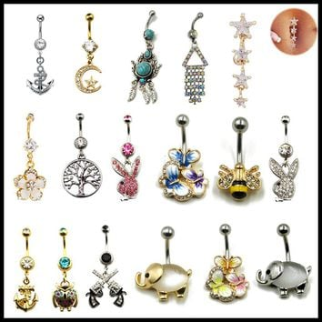 1PC Steel Belly Button Ring Crystal Gem Gold Flower Elephant Logos Navel Piercing Rings For Sexy Women Fashion Jewelry 14g