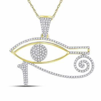10kt Yellow Gold Men's Round Diamond Eye of Ra Charm Pendant 1-2 Cttw - FREE Shipping (US/CAN)