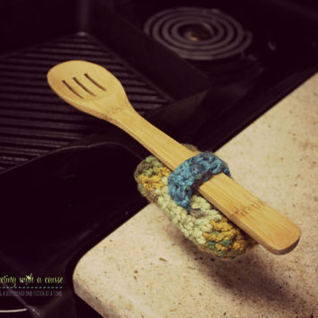 Cast Iron Handle Cover - With Spoon Holder - Set of 2 - Crocheted - Multi Colored - Green, Yellow, Blue