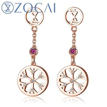 ZOCAI New Arrival ICE and FIRE Series 0.04 Ct Real Diamond with 0.06 Ct real Ruby 18K Rose gold Drop Earrings E80043T