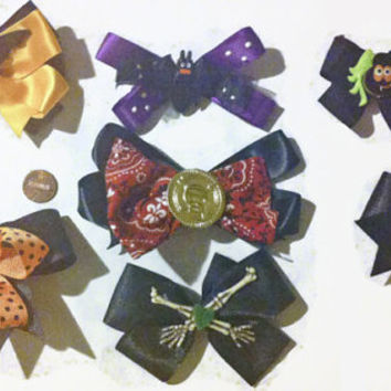 Halloween Bow Set, Spooky bows, Halloween costumes, Bat bows, cat bows, spider bows, goth bows, black hair bows, gift ideas, halloween gifts