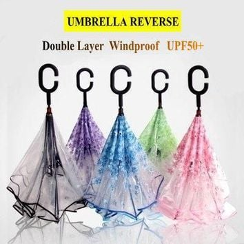 Fashion Sakura Umbrella Reverse EVA Transparent Umbrella Rain Women UPF50+ Anti UV Sun Protection Windproof Reverse Umbrella