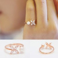 Jewelry Gift New Arrival Shiny Simple Design Leaf Floral Pearls Korean Accessory Stylish Ring [8380586375]