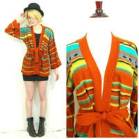 70s vintage cardigan sweater / Open tie waist / Knit wide Kimono style sleeves / Striped Aztec print / Hippie boho bohemian size small/med