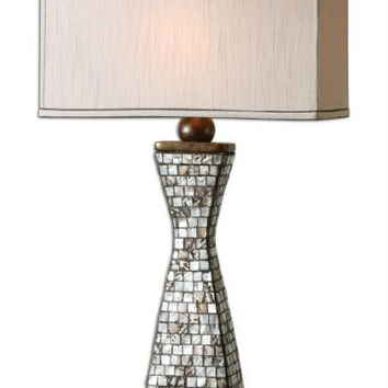 Table Lamp - Shell Inlays With Gray Grout