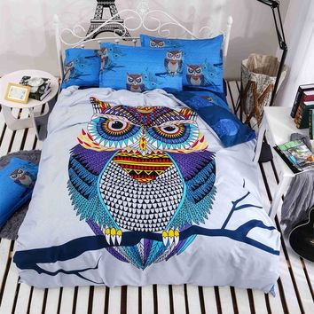 4/3pcs cotton bedding kids owl's boys/girls owl bedding set 3d bed linen  duvet cover bed sheet pillowcases full/twin/queen bed