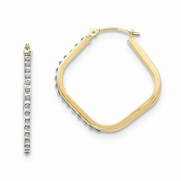 14K Yellow Gold Diamond Fascination Square Hoop Earrings